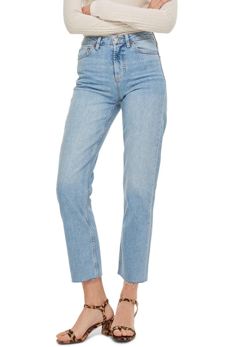 Topshop High Waist Raw Hem Straight Leg Jeans | Nordstrom