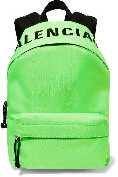 Balenciaga   Wheel neon embroidered shell backpack   NET-A-PORTER.COM