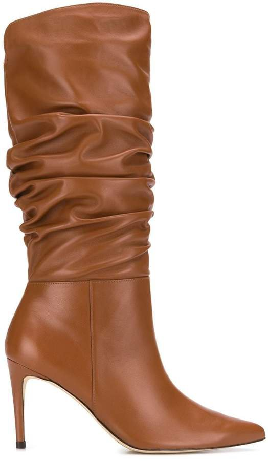 ruched leather boots