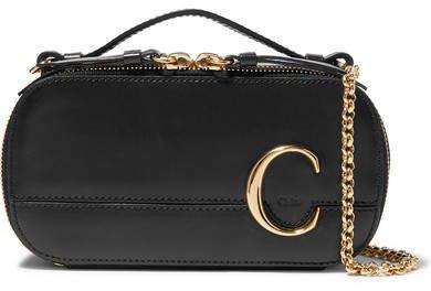 C Leather Shoulder Bag - Black