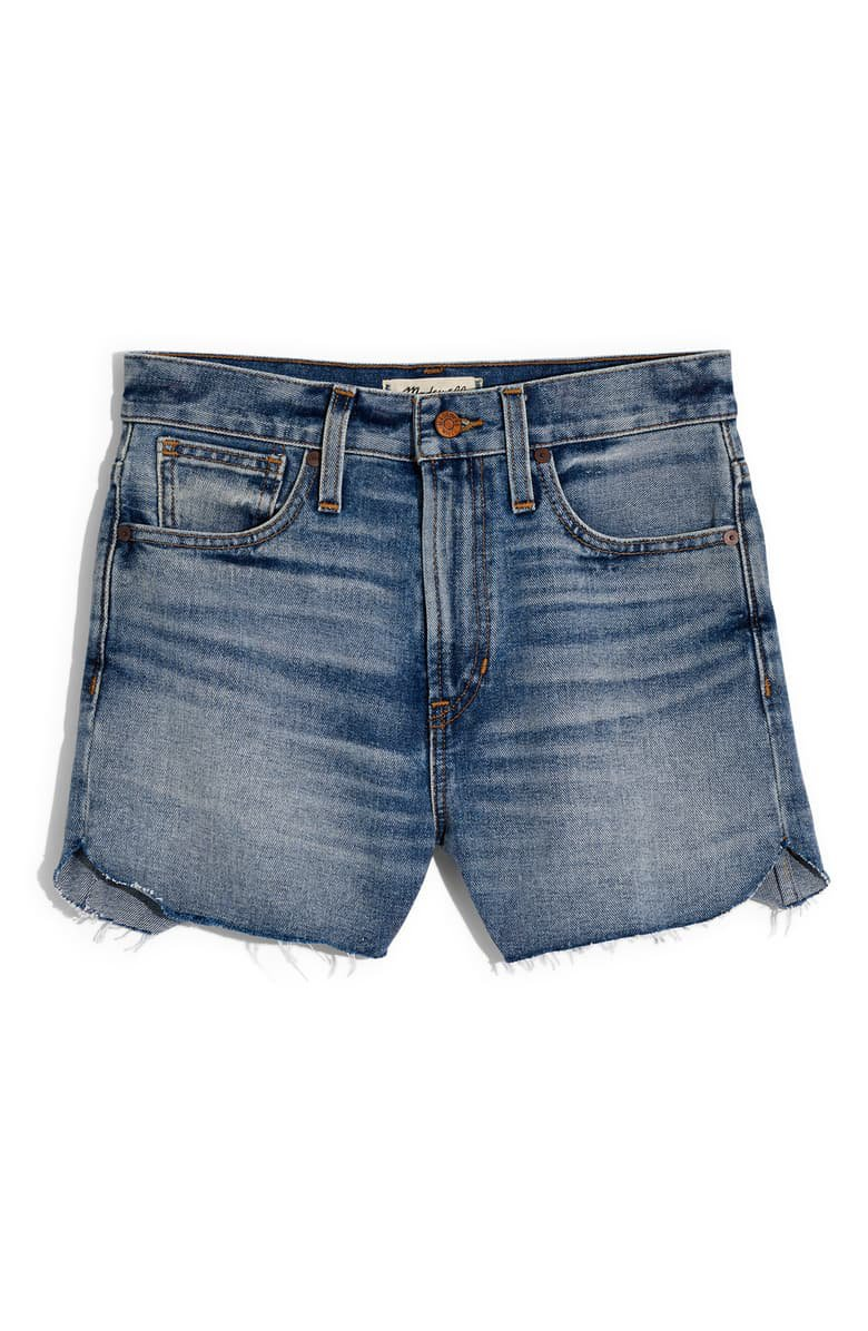 Madewell The Perfect Tulip Hem Denim Shorts Blue