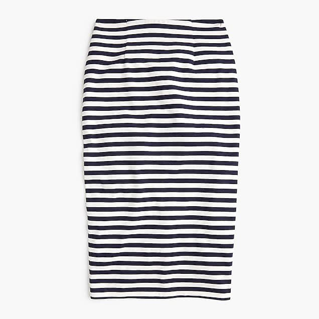 J.Crew: Knit Pencil Skirt In Stripe blue