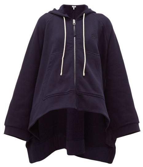Oversized Cotton Jersey Hooded Sweatshirt - Womens - Blue
