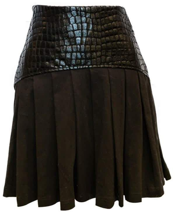 Vhny Black Leather Pleated Skirt