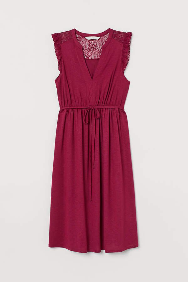 MAMA Dress with Lace - Pink