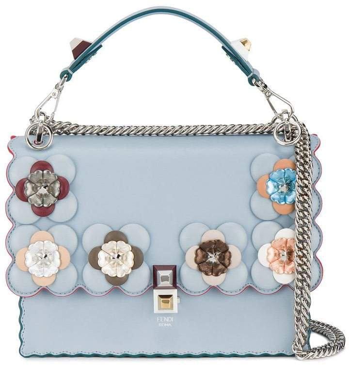 Blue Floral Kan I Leather Shoulder Bag