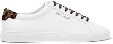 Andy Calf Hair-trimmed Leather Sneakers - White