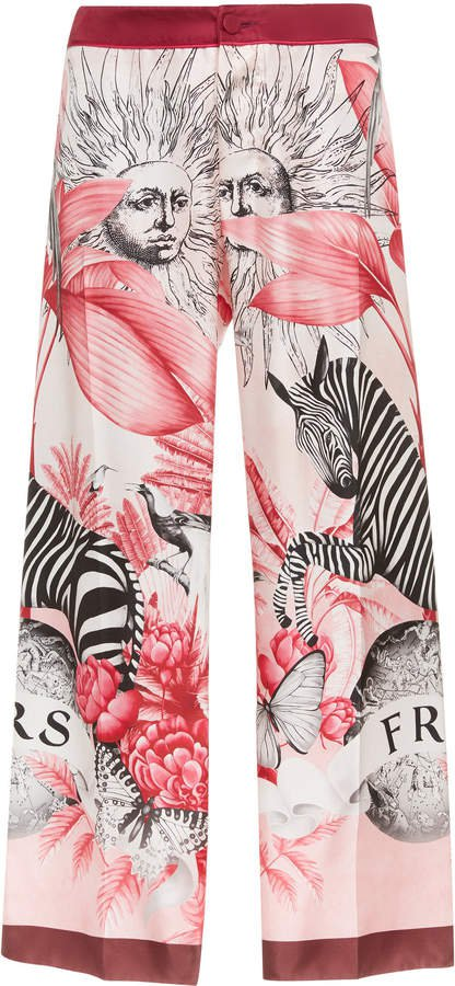 For Restless Sleepers Ceo Animal-Print Silk Cropped Pants Size: S