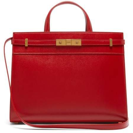Manhattan Small Leather Tote Bag - Womens - Red