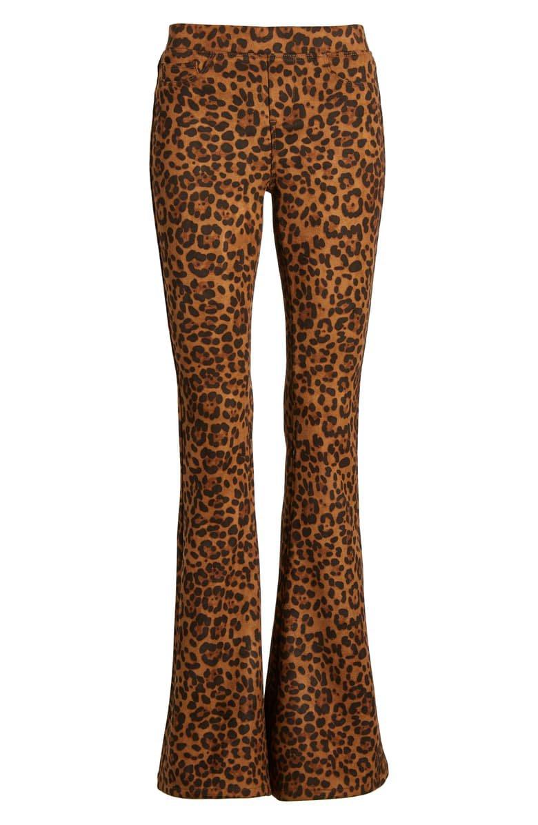 BLANKNYC Leopard Print Faux Suede Flare Pants | Nordstrom