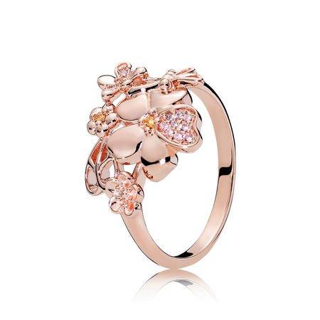 Wildflower Meadow Ring, PANDORA Rose™ & Blush Pink Crystal | PANDORA Jewelry US