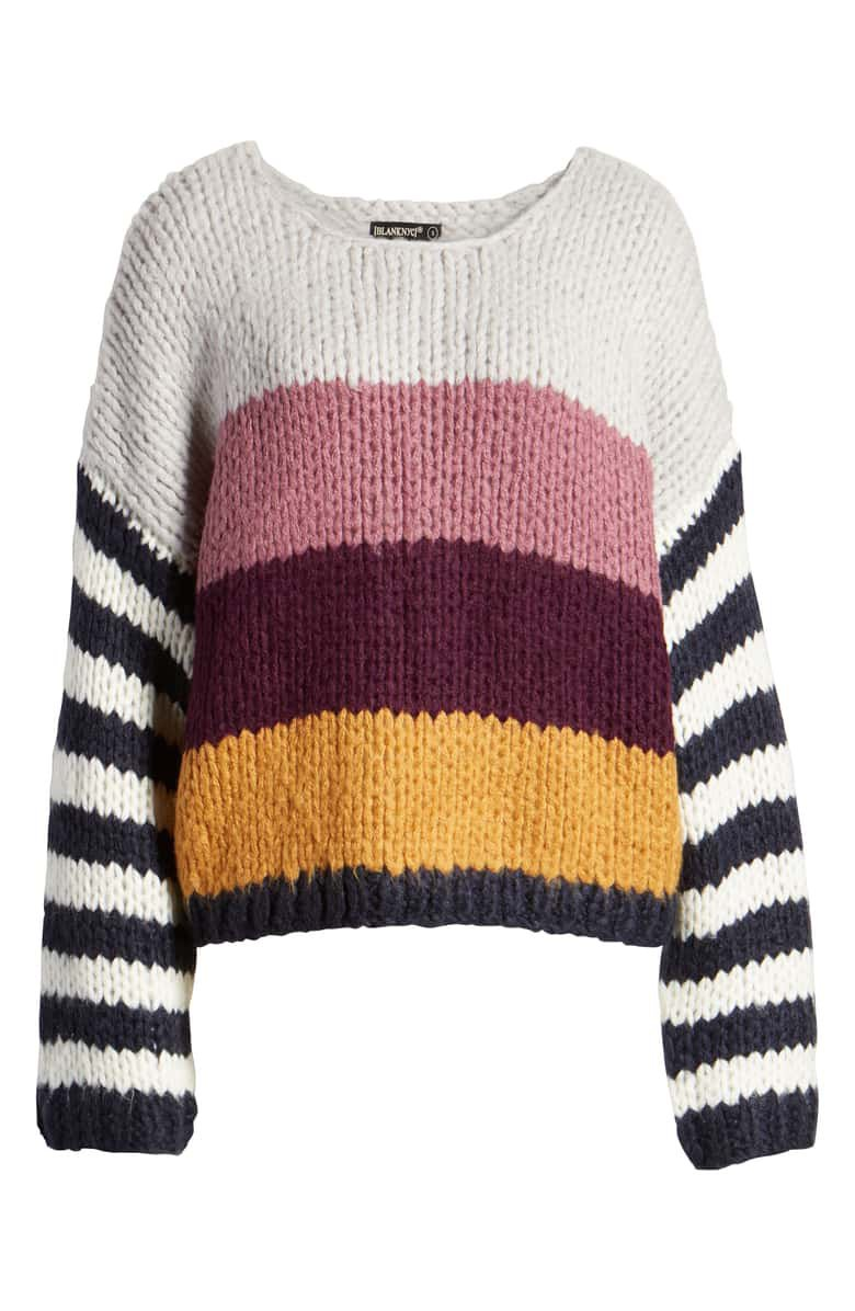 BLANKNYC Stripe Oversize Sweater white yellow pink