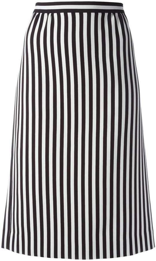 monochrome striped A-line skirt