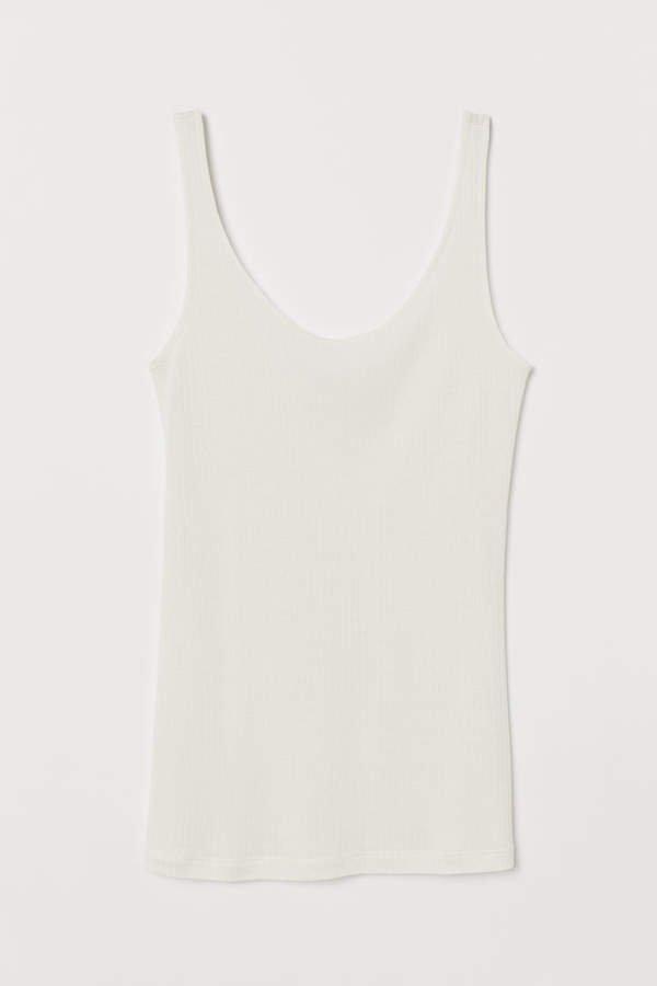Silk-blend Tank Top - White