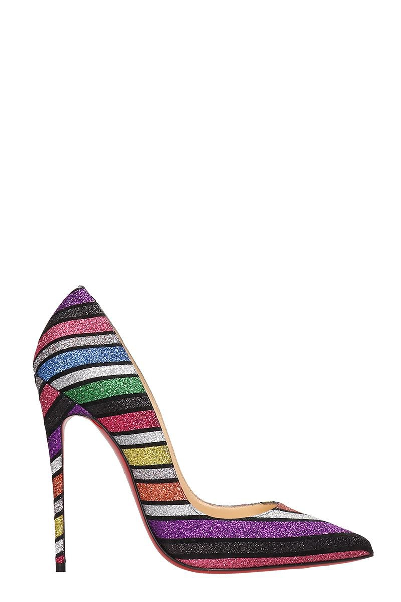 Christian Louboutin So Kate Suede And Striped Sandals