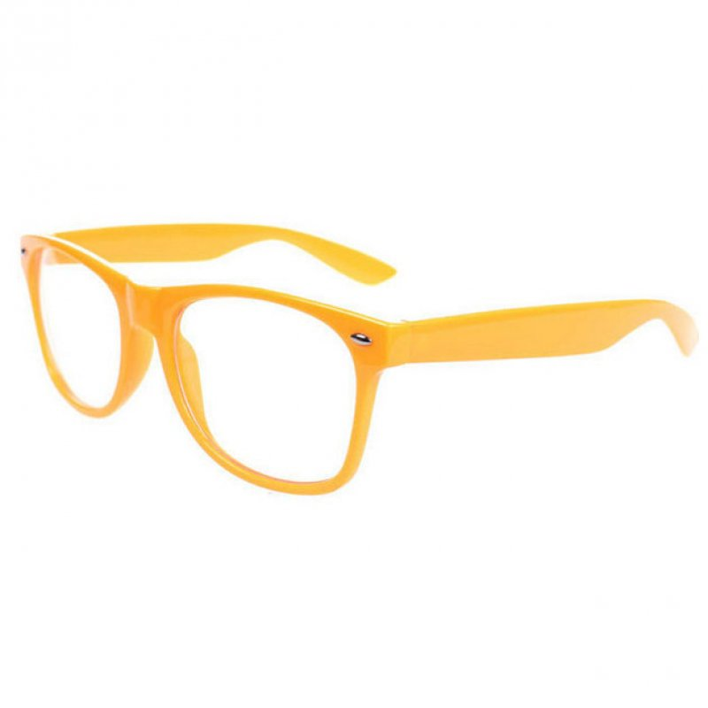 Retro Cool Unisex Clear Lens Nerd Geek Glasses Eyewear Orange - Tmart
