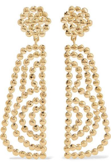 Chloé | Valeria lacquered gold-tone earrings | NET-A-PORTER.COM
