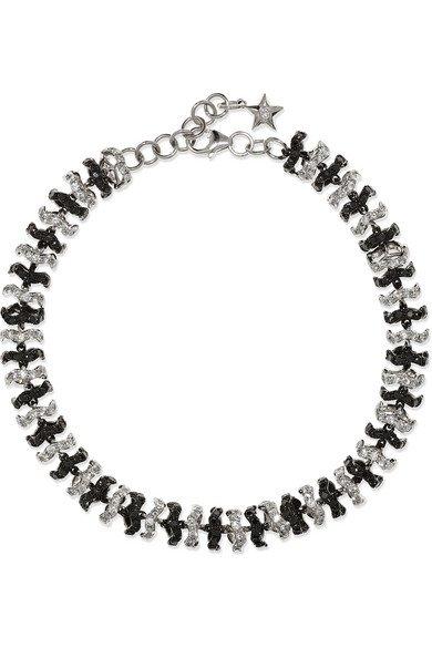 Ofira | Halo 18-karat blackened white gold diamond bracelet | NET-A-PORTER.COM
