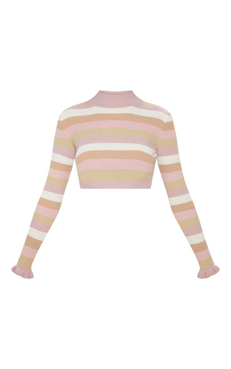 NUDE STRIPE RIBBED CROPPED SWEATER