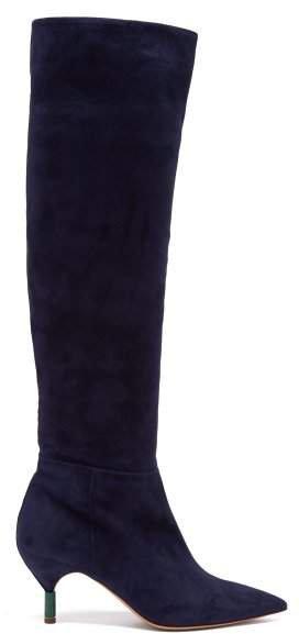 Gonzalez Suede Knee High Boots - Womens - Navy