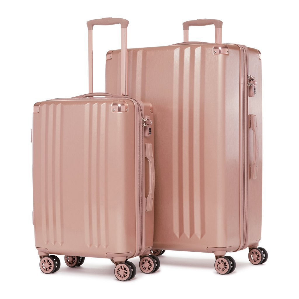 Ambeur Rose Gold 2 Piece Luggage Set