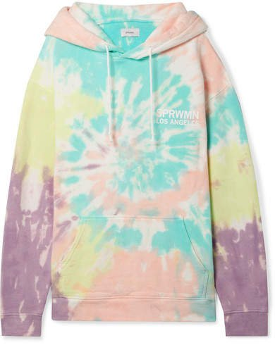 Printed Tie-dyed Cotton-jersey Hoodie - Blue