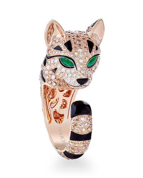 "Boucheron 18k Diamond ""Fuzzy"" The Leopard Cat Ring, Size 52 | Neiman Marcus"