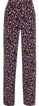 Satin-trimmed Floral-print Silk-crepe Wide-leg Pants