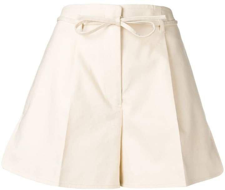 bow belt flared shorts