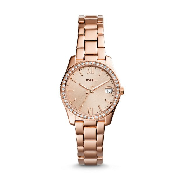 Scarlette Mini Three-Hand Date Rose Gold-Tone Stainless Steel Watch - Fossil