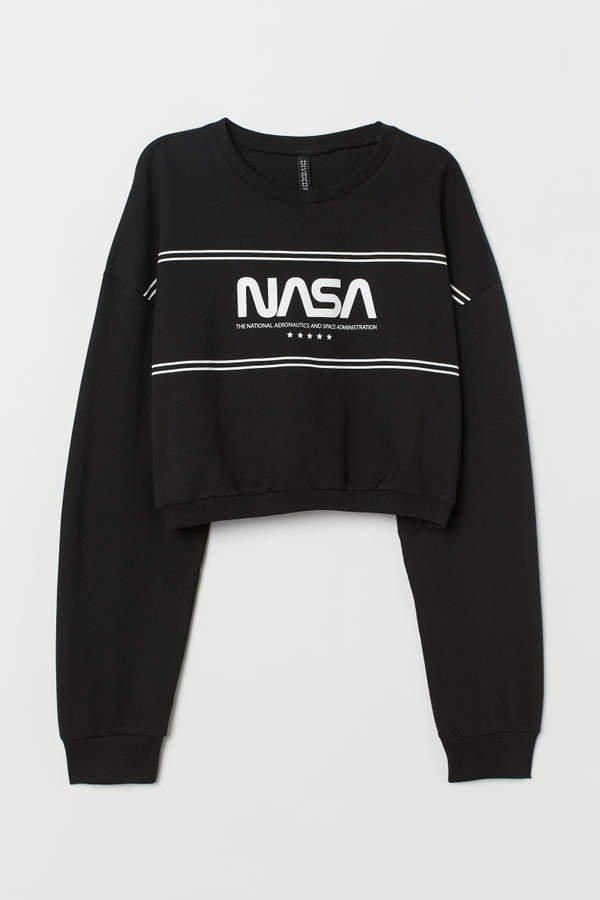 Short Printed Sweatshirt - Black