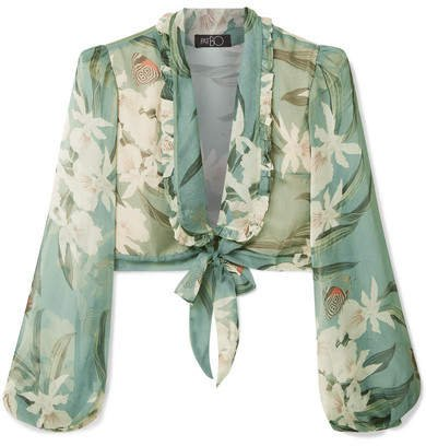 Cropped Tie-front Printed Georgette Top - Jade