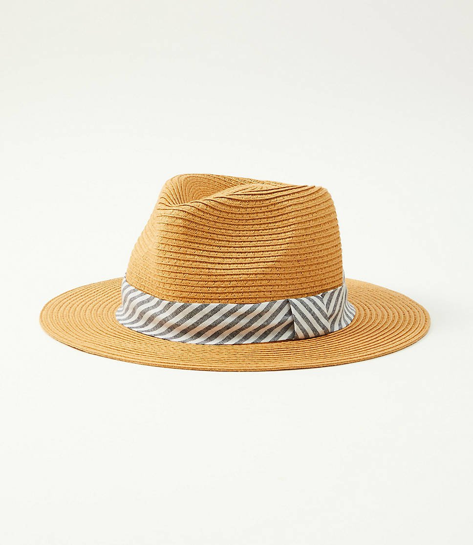 Striped Ribbon Straw Fedora