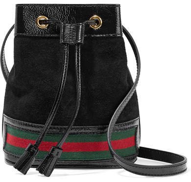 Ophidia Mini Textured Leather-trimmed Suede Bucket Bag - Black