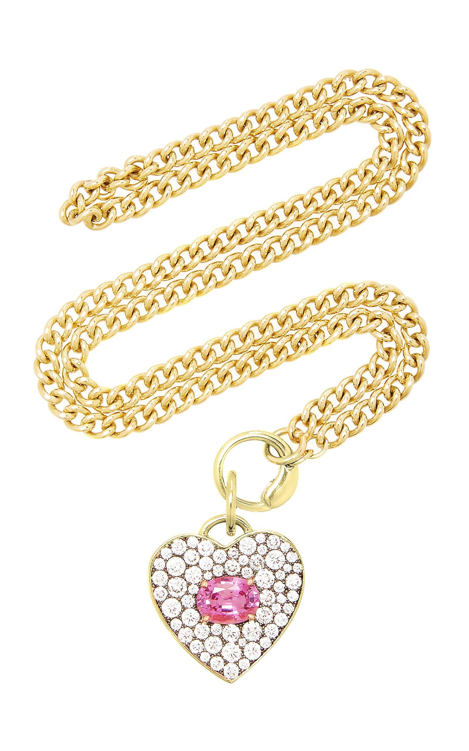 Jemma Wynne 18K Yellow Tourjours Pink Sapphire Heart Necklace