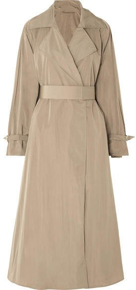 Belted Shell Trench Coat - Brown