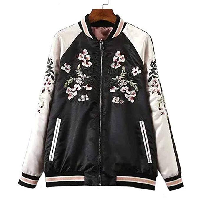 Amazon.com: Viport Women's Floral Phoenix Embroidered Reversible Bomber Jacket Black Red: Clothing