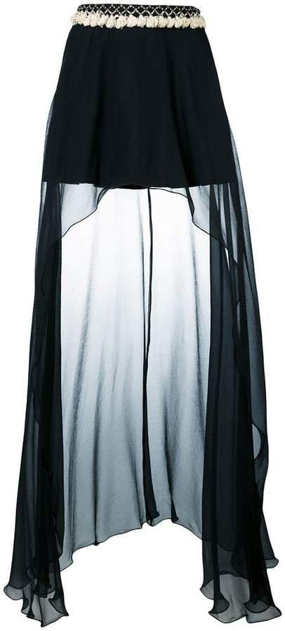 Wandering draped asymmetric skirt