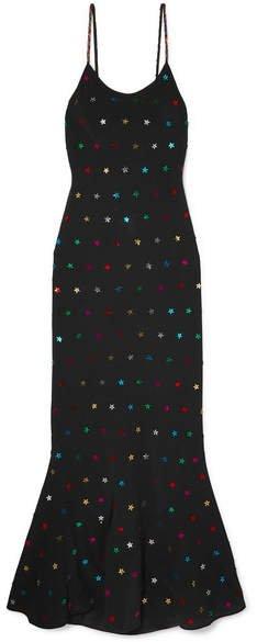 Sequin-embellished Crepe De Chine Maxi Dress - Black