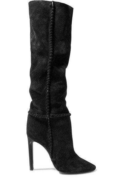 Saint Laurent   Mica suede knee boots   NET-A-PORTER.COM