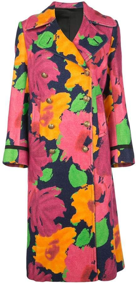 floral pattern double-breasted coat