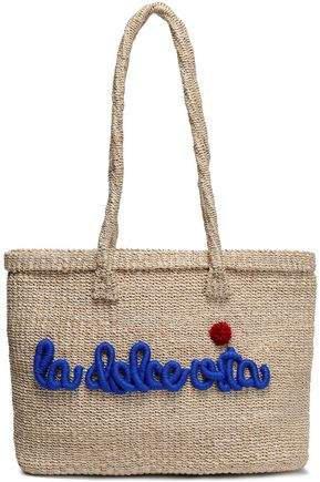 Pompom-embellished Embroidered Straw Tote