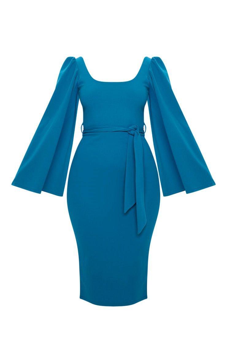 Petrol Blue Cape Sleeve Tie Waist Midi Dress | PrettyLittleThing USA