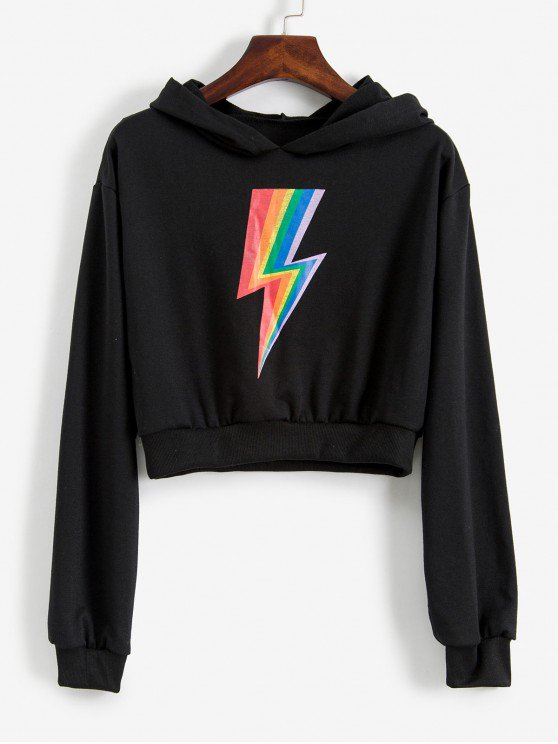 [30% OFF] [NEW] 2019 Cropped Rainbow Lightning Graphic Hoodie In BLACK | ZAFUL