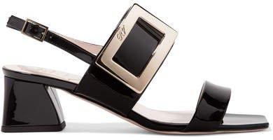 Gommettine Patent-leather Slingback Sandals - Black