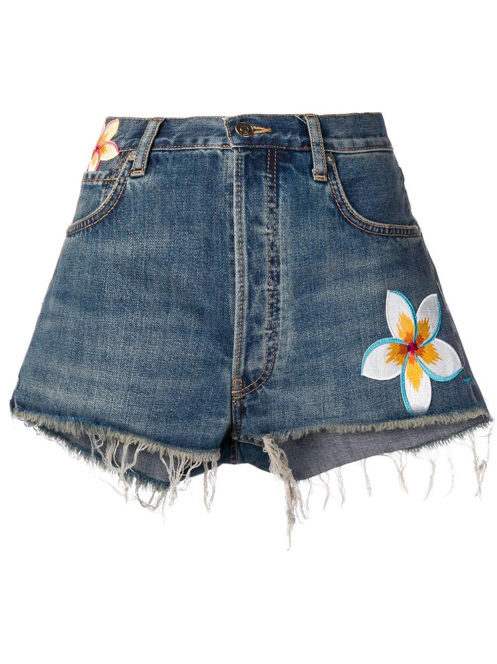Alanui Flower Patch Denim Shorts - Farfetch