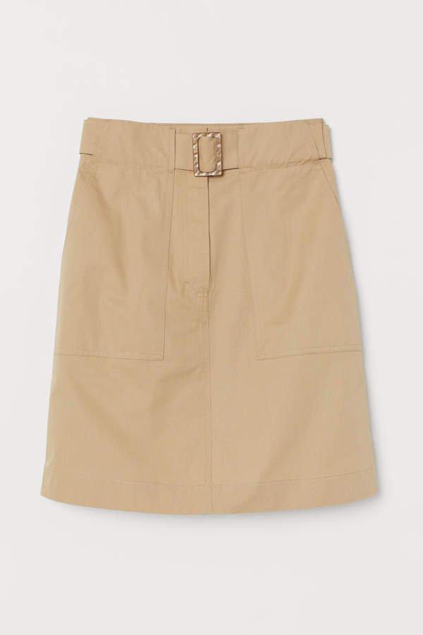 Utility Skirt with Belt - Beige