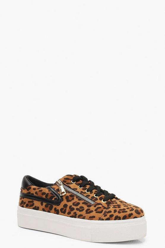 Leopard Zip Side Platform Trainers | Boohoo