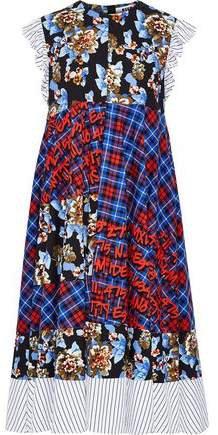Paneled Printed Cotton-poplin Midi Dress