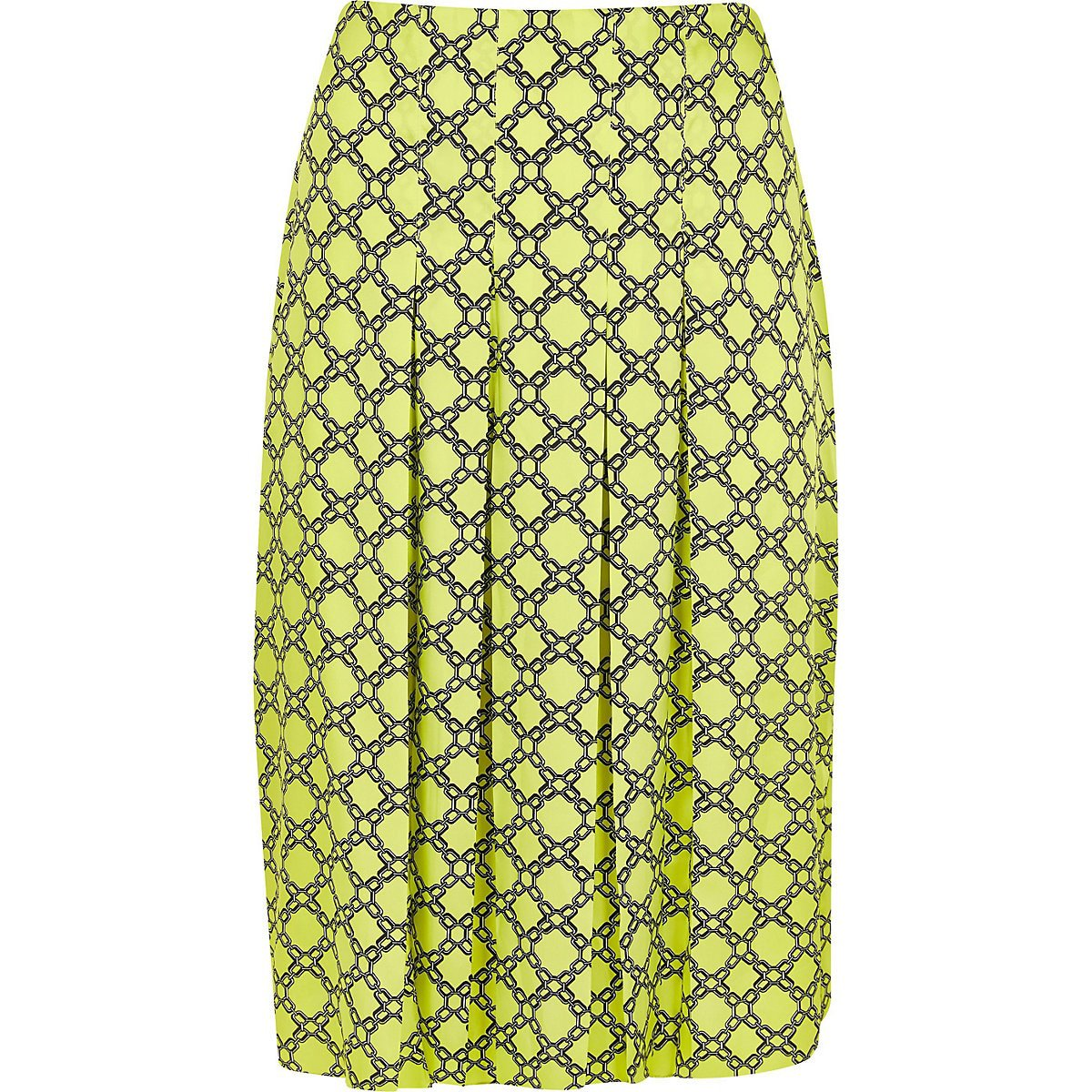 Plus green chain print pleated skirt - Midi Skirts - Skirts - women